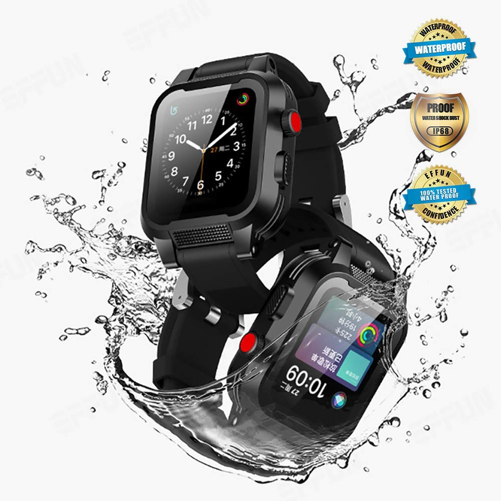 Apple Watch Waterproof Case for 42mm Apple Watch Series 3 & 2, EFFUN IP68 Waterproof Shockproof Impact Resistant Apple Watch Case Rugged Protective iWatch Case + 2 Soft Silicone Apple Watch Band Black