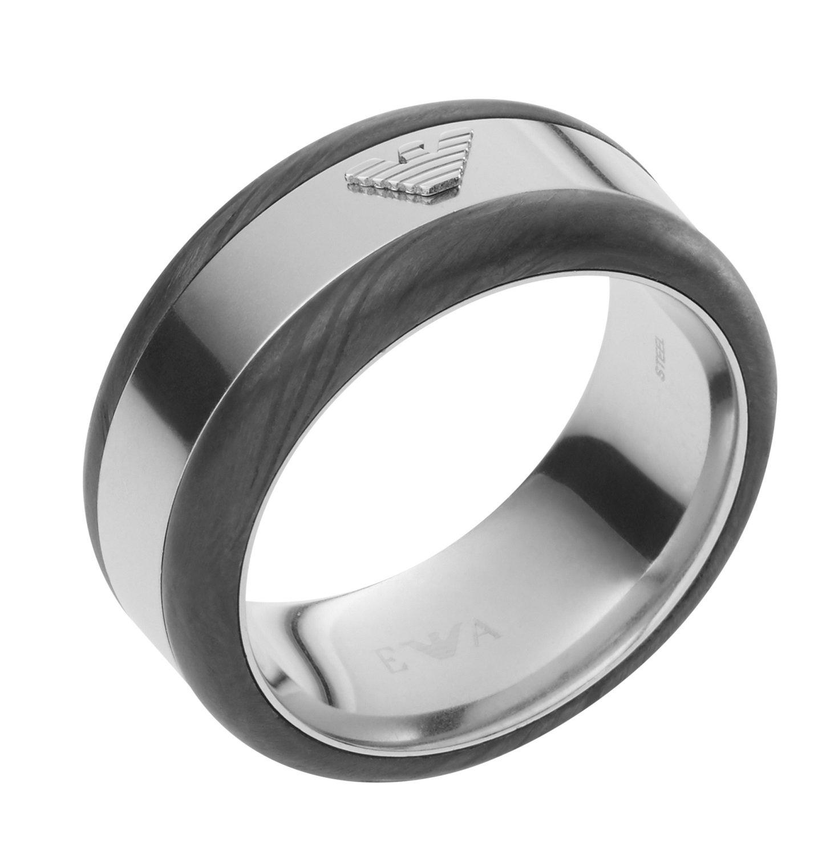 Emporio Armani EGS2184040 Deco Barrel Eagle Logo Ring, Size 10, in Gift Box