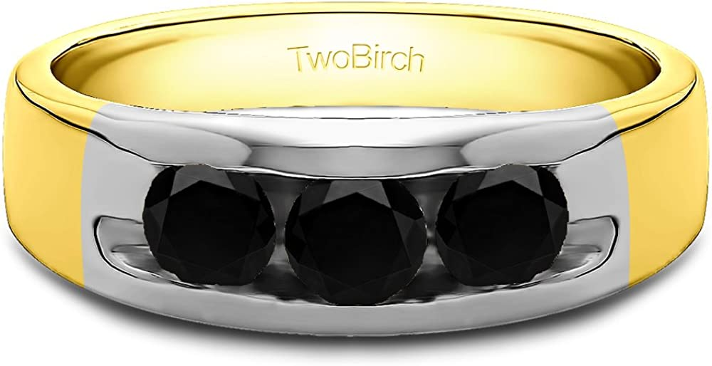Size 3 to 15 in 1//4 Size Intervals 0.33Ct Yellow Plated Silver Mens Wedding Ring Black Cubic Zirconia