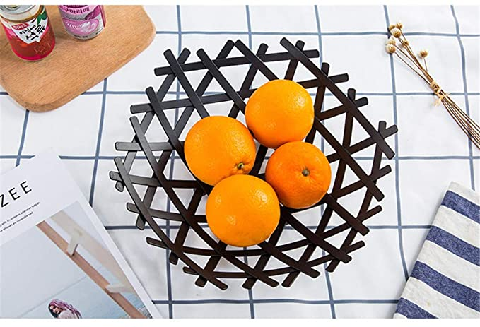 Cesta De Frutas TazóN De Almacenamiento Titular Frutos Secos Cocina Arte De La Sala De Hierro,Black: Amazon.es: Deportes y aire libre