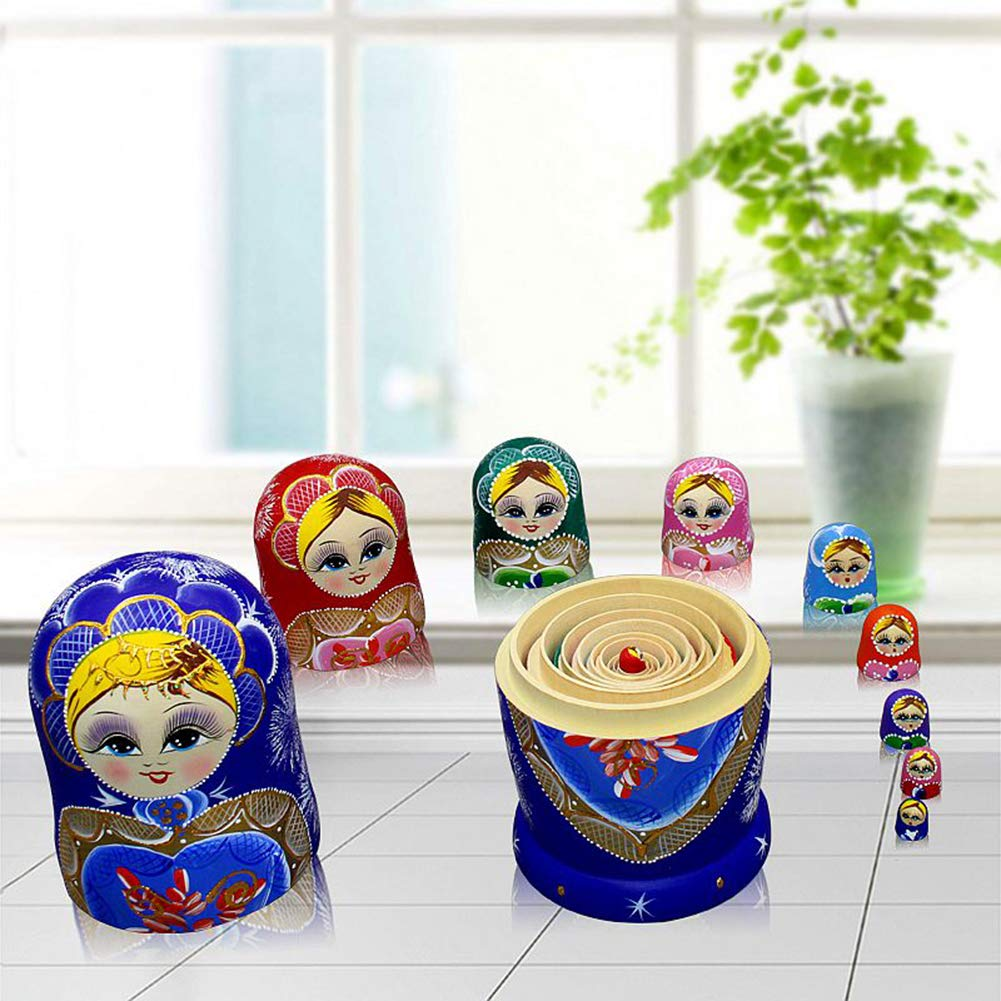 Moonmo 10pcs Blue Loving Heart Shaped Handmade Wooden Russian Nesting Dolls Matryoshka Wooden Toys by Moonmo (Image #4)