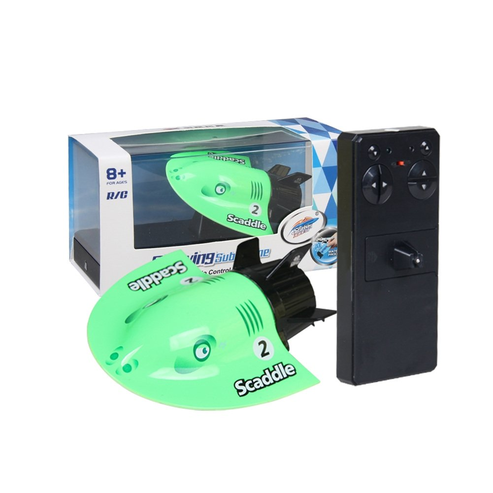 PER Mini RC Submarine Devil Fish Shape 4-Channel Remote Control Boat Summer Underwater Games Toys Electric Sightseeing Craft For Kids Rechargeable-Green