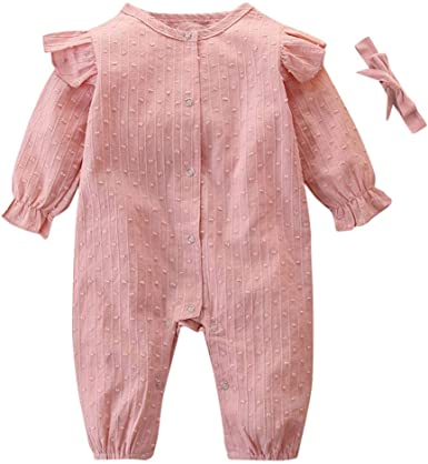 Baby Kids Romper,Fineser Adorable Infant Toddler Baby Boy Girl Ruffle-Neck Long Sleeve Striped Romper Jumpsuit Clothes