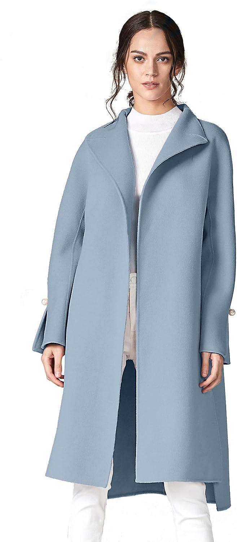 ANNA&CHRIS Women's Long Wool Trench Coat Winter Oversize Handmade Lapel Cardigan Overcoat: Clothing