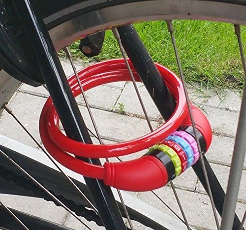 Stahlseil Zahlenschloss 65 cm, Fahrradschloss PVC ummantelt Fahrradzahlenschloss, Kinder Fahrrad Zahlen Schloss rot