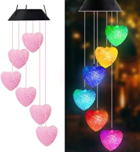 Solar String Lights,Heart Shapes Wind Chimes for Decoration Outdoor,LED Wind Chimes,Waterproof Solar Wind Chimes for Outdoor Garden/Yard Decoration,Gifts for Mom,Wife,Grandma,Christmas(Heart Shapes)