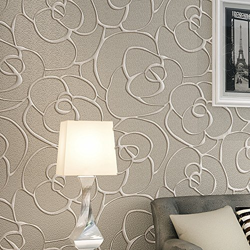 QIHANG Modern Minimalist Embossed 3D Rose Flower Non-woven Wallpaper Cream&Gray Color 0.53m(1.738' W) x 10m(32.8' L)=5.3(57 sq.ft)