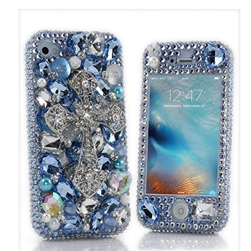 iPhone 8 Bling Case, Fairy Art Luxury 3D Handmade Sparkle Series Rhinestone Cross Crystal Design Front & Back Snap-on Hard Cover with Soft Wallet Purse Red Cloth Pouch - Sky Blue - 3219 Series