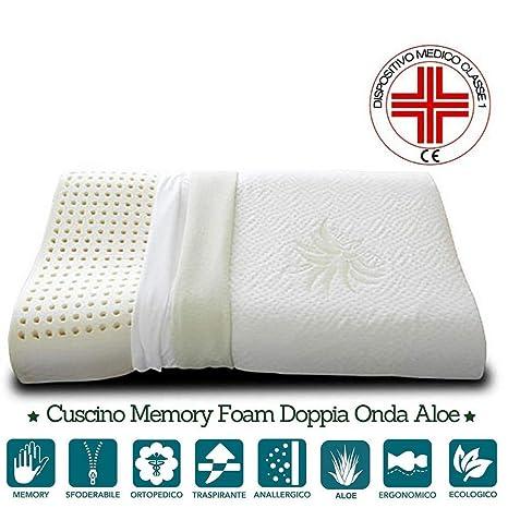 Cuscino Cervicale Dove Comprare.Evergreenweb Cuscino Memory Foam Per Cervicale Con Rivestimento In Tessuto Aloe Vera 72x42