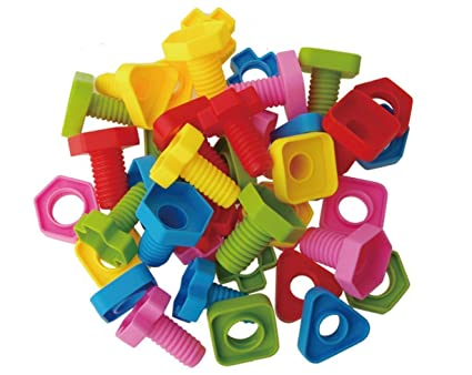 Jumbo Nuts And Bolts Set With Toy Storage And Book | Montessori Toddler  Rainbow Matching Game