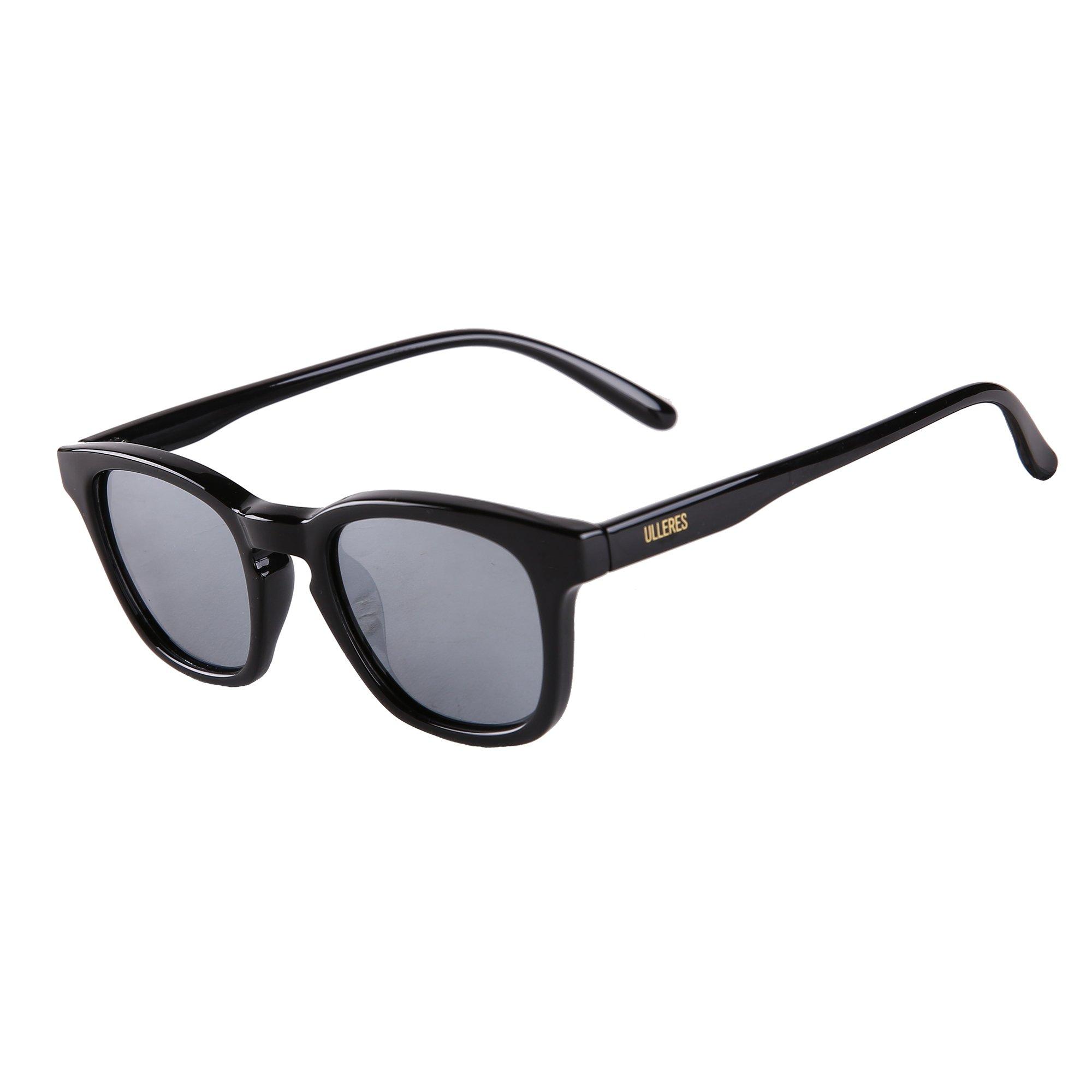 ULLERES Wayfarer Retro 80s Polarized Sunglasses for Kids Boys and Girls(Black, 44)