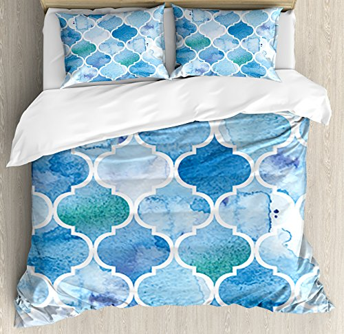 - Ambesonne Watercolor Duvet Cover Set, Abstract Moroccan Trellis Geometric Pattern Curves Persian Mosaic Design, Decorative 3 Piece Bedding Set with 2 Pillow Shams, King Size, Turquoise Blue