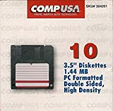CompUSA 3.5'' Diskettes, 1.44 MB, PC Formated, Double Sided, High Density (pack of 10)