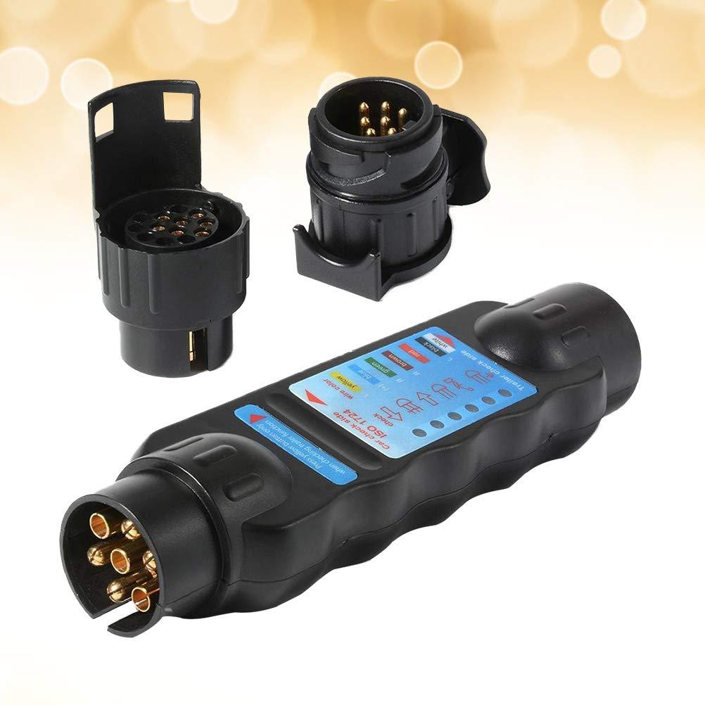 Vosarea 7 Pin Auto LKW Anh/änger Steckdose Tester Verdrahtung Schaltung Licht Test Tool Diagnose-Tools schwarz