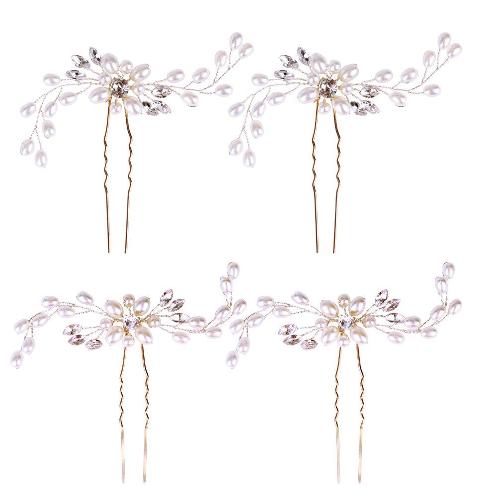 Jaciya 4 Pack Wedding Bridal Crystal Pearl Hair Pins Decorated Hairpins for Women and Girls (Silver) by Jaciya