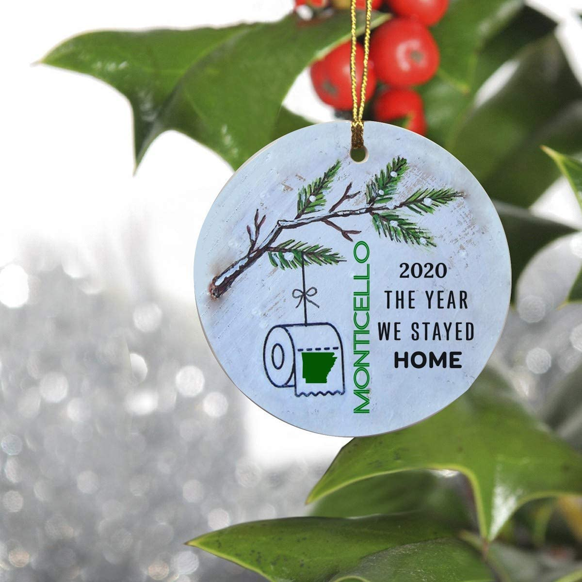 Quarantine Ornaments For Christmas Tree - 2020 The Year We Stayed Home Monticello Arkansas State - Social Distancing Funny Novelty Gift For Family - Ornament 3 Inches