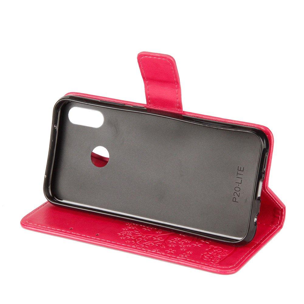 Huawei P20 Lite Custodia Skin Pu Portafoglio Protettiva in pelle per Huawei P20 Lite Bookstyle Flip Cover Stand Case a Libro Portafoglio Carta Fessura Funzione Stand Verde