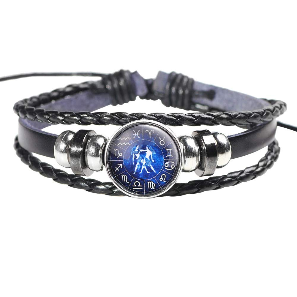 EnjoCho ☛☛ Fashion Men Women Constellation 12 Zodiac Sign Bracelets Punk Woven Leather Jewelry (B)