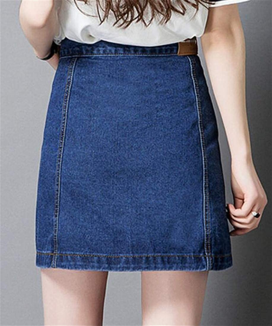 Sweatwater Womens Faded Vogue Denim Embroideried Button a-line Skirt