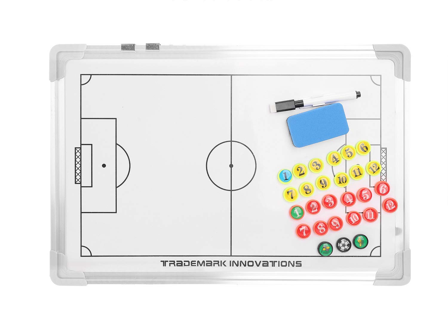 Magentic Soccer Coach Board Lightweight Aluminium Alloy Football Strategy Teaching Board Training Competition Equipment with Pen Eraser Magents Coaches' & Referees' Gear