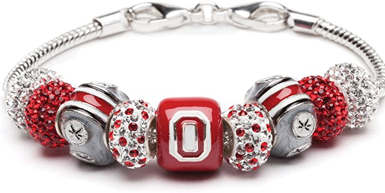 Ohio State Gifts Ohio State Buckeye Leaf with Red and Black Crystal Charms Ohio State Charms OSU Jewelry Officially Licensed Ohio State Jewelry Stainless Steel