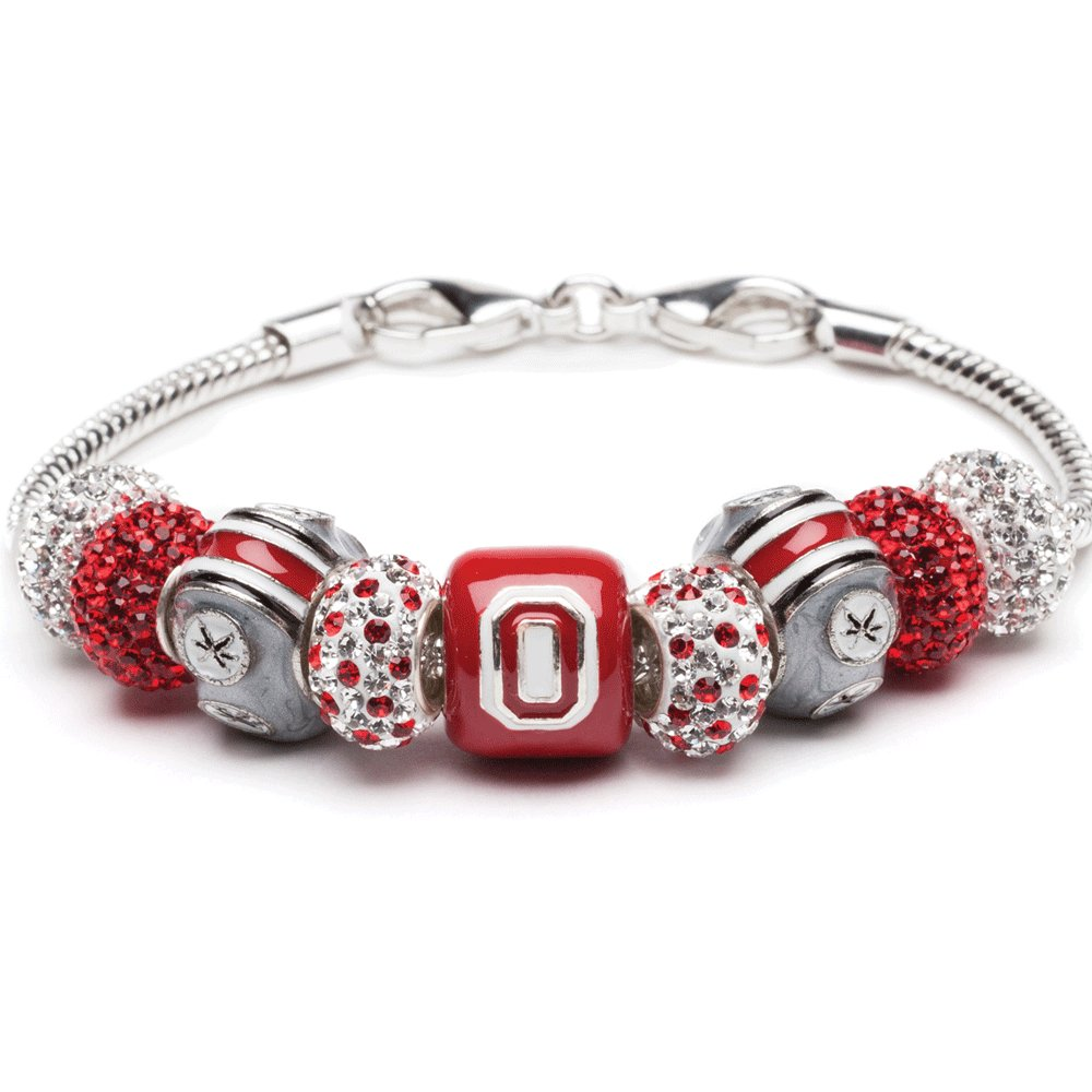 Ohio State Charm Bracelet | Ohio State Block O Bracelet with 5-Leaf and Crystal Charms | OSU Gifts | Officially Licensed Ohio State Jewelry | Ohio State Charms | Stainless Steel