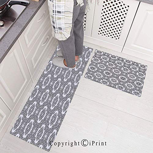 Knot Motif Celtic - Durable Kitchen Rug Runners with Non-Slip Rubber Backing and Unique Design,Geometric Diagonal Symmetrical Binding Celtic Cross Knots Motif Retro Artsy Illustration Perfect for Kitchen Floor (Set of 2