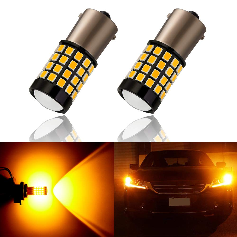 ANTLINE Newest 1156 LED Bulb Amber Yellow (2 Pack), 9-30V Super Bright 1600 Lumens 1141 1003 7506 BA15S 52-SMD LED Lamps with Projector for Replacement, Work as Turn Signal Blinker Side Marker Lights