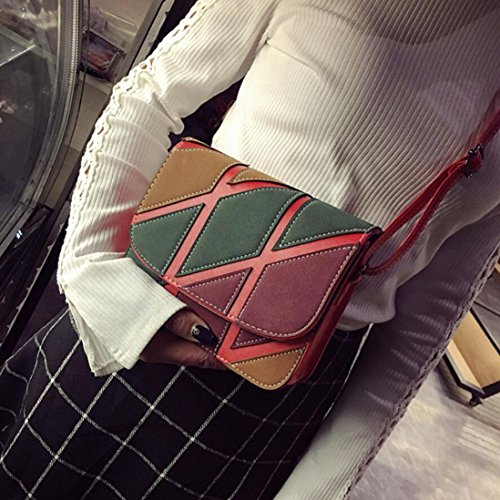 Shoulder Small Crossbody Red Womens Inkach Bag Handbags Leather Retro Bags xXwxqAH