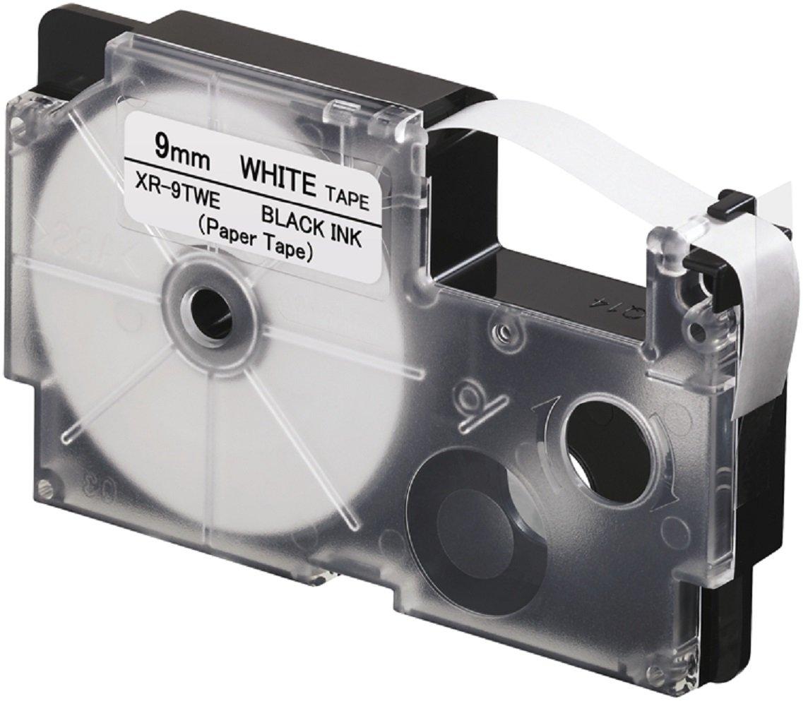 Casio XR-9TWE Ruban pour Etiqueteuse professionnelle Noir sur Blanc XR-9TWE1