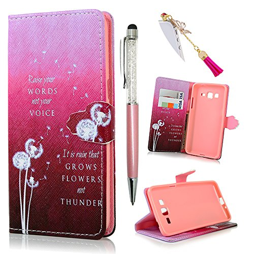 Cheap Flip Cases Galaxy Grand Prime Case -MOLLYCOOCLE[Hot Pink Dandelion]Stand Wallet Purse Credit Card ID..