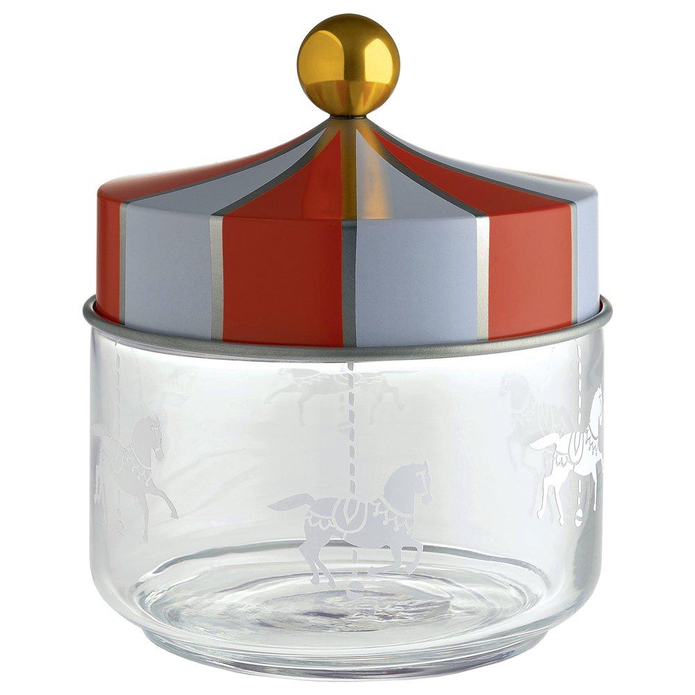 Alessi Mw30/50Circo Jar en Cristal con Tapa hermética la serigrafía en Hojalata. 50Cl