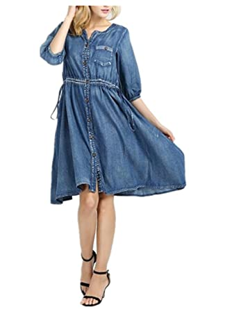 May New Denim Dress Boho New Vestidos V-Neck