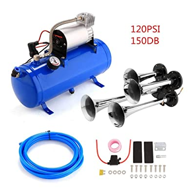 ETE ETMATE 150DB Train Air Horn Kit,4 Trumpet Train Horn Kit with 120 PSI Air Compressor 6L Blue Air Tank for Car Truck Train Van Boat: Automotive