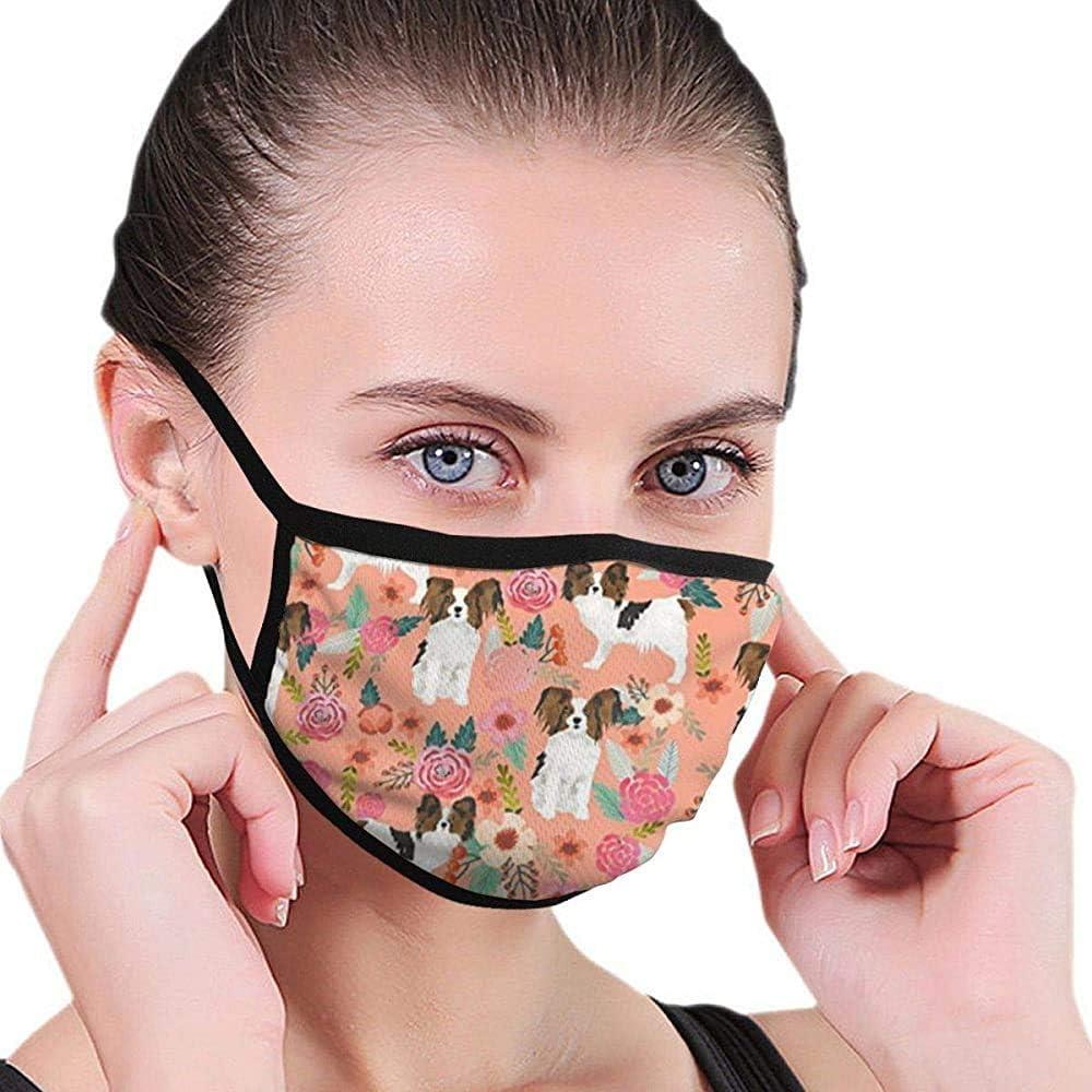 Papillons Floral Peach Cute Pet Mask Mascarilla de diseño de máscara Mascarilla Lavable de Belleza Máscara Lavable y Reutilizable con Banda elástica para el oído