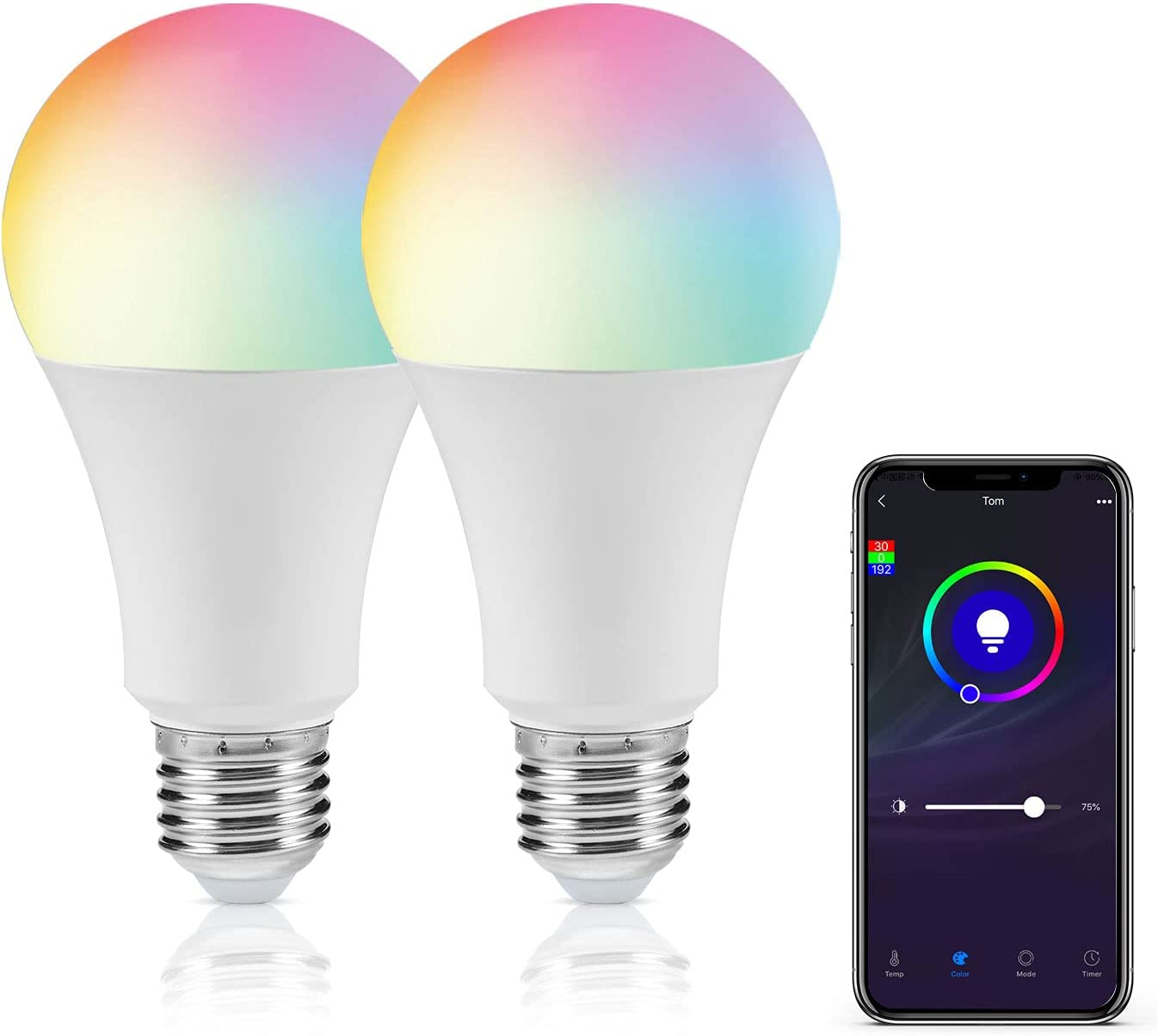 Smart Light Bulb, DoHome WiFi LED Light Bulb Color Changing LED Smart Bulb Compatible with Alexa, Apple Homekit and Google Assistant A19 E26 No Hub Required Remote Control Multicolor Light Bulb 2pcs