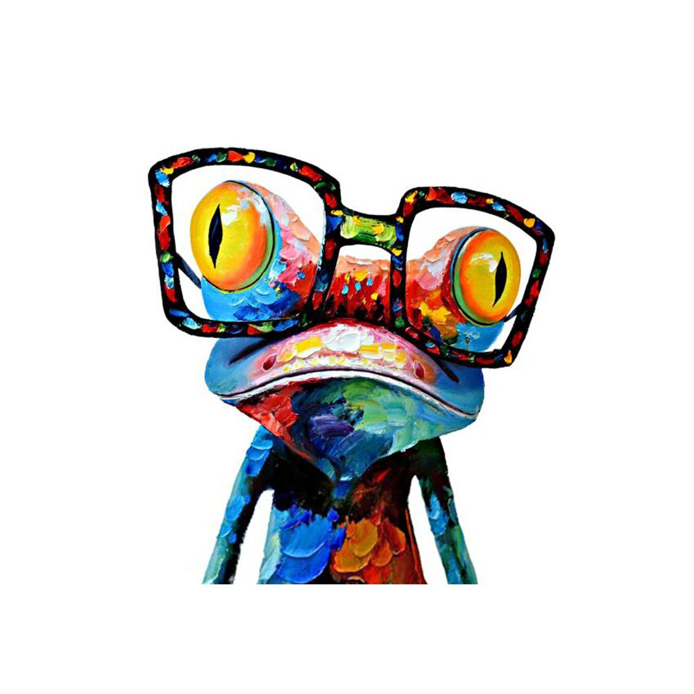 decalmile Animal Frog with Glasses Wall Art Printed on Canvas Kids Room Living Room Bedroom Office Wall Decor (40 X 40cm, Happy Frog)