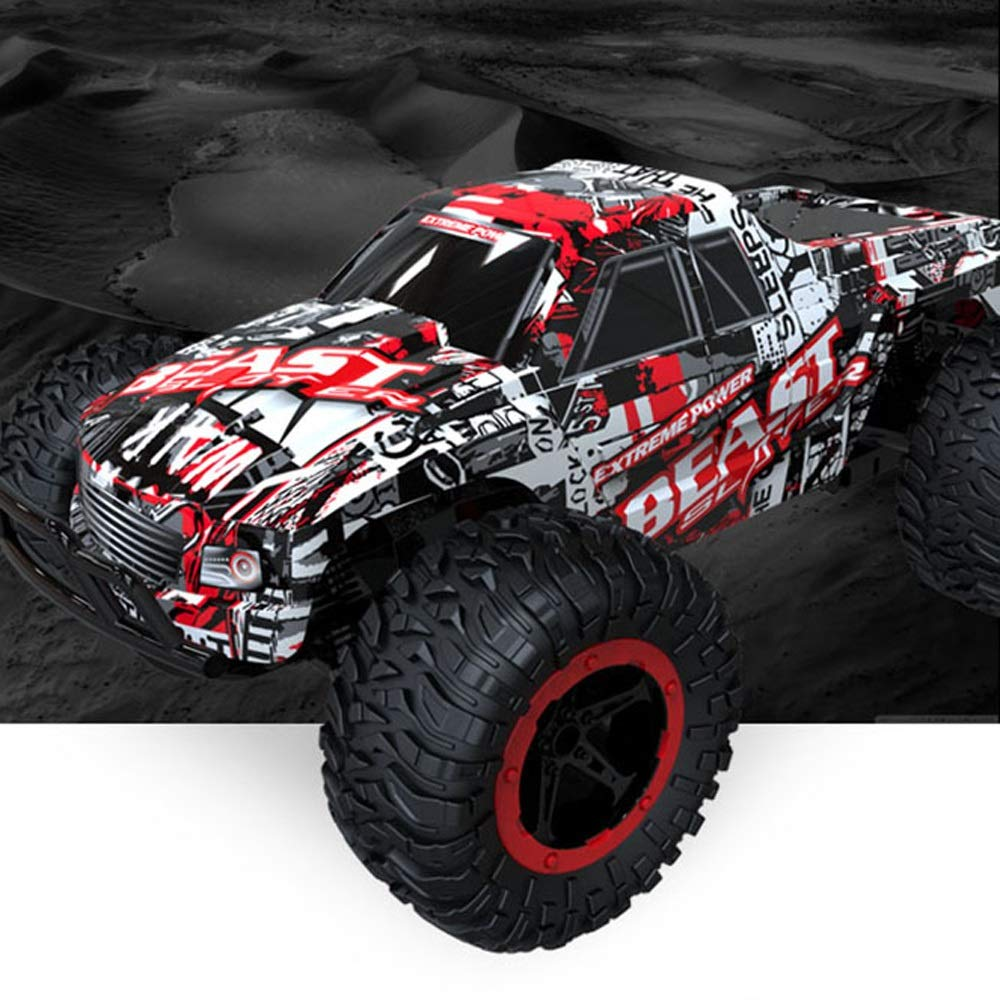 Pinjeer Professionale RC Auto 1:16 SUV ad Alta velocità Rock Rover Doppi Motori Auto Big Foot Telecomando Radio Controlled off Road Car Toys per Bambini 6+ (Color : Blue)