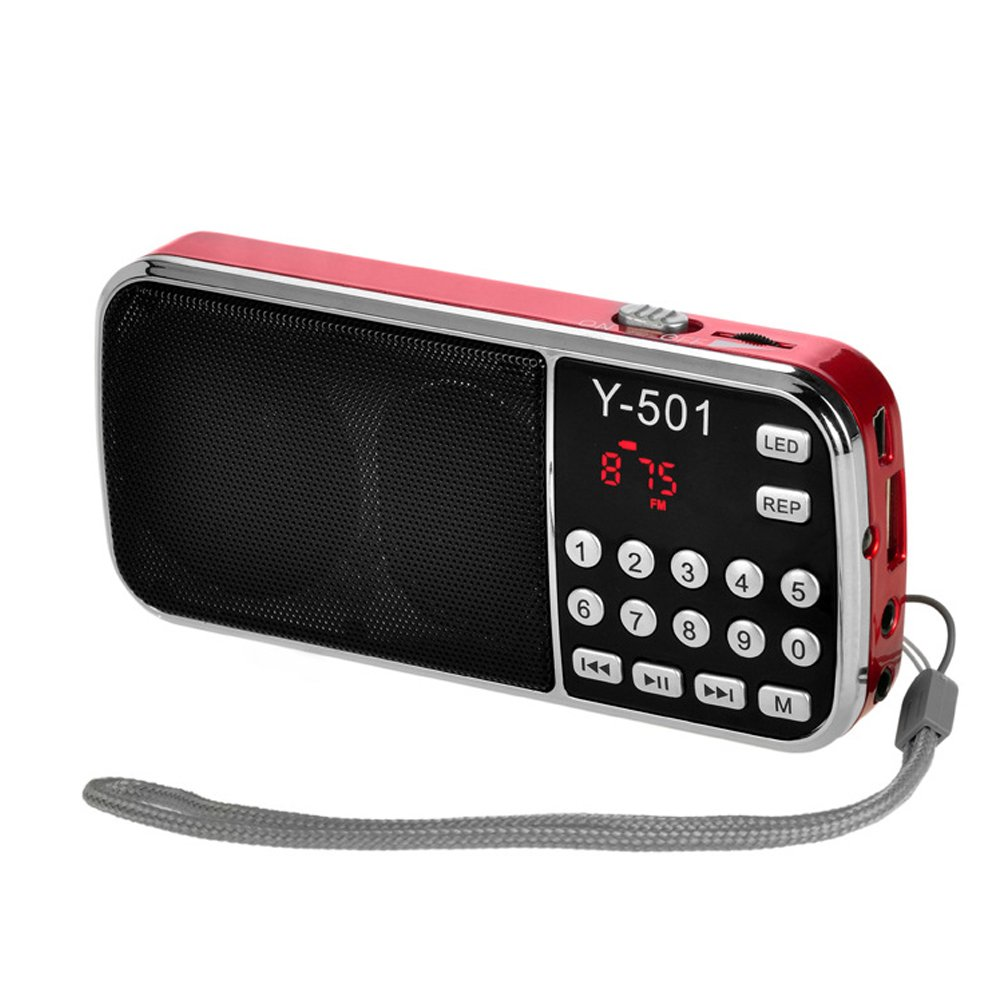 FidgetFidget Portable FM Radio Speaker Music Player Y-501 LCD Digital TF Card USB Input Red
