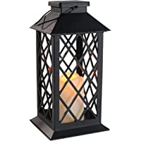 Youngerbaby Battery Operated Hanging Lantern Flickering Yellow Vintage LED Outdoor Indoor Flameless Candles Nightlight Decorative Lanterns for Garden Yard Lawn Camping -2xAA Not Included - 1 Pack