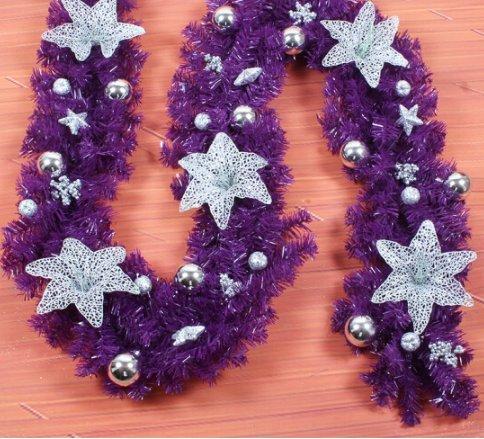 2.7-metre Christmas rattan rattan decorative door Todomon decoration Christmas Hotel shopping mall decorate scene decorate (Purple)