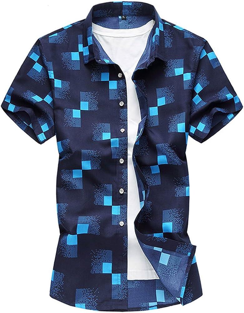 Cloudstyle Men's Summer Shirt Lightweight Printing Pattern Button Down Casual Short Sleeve Shirts