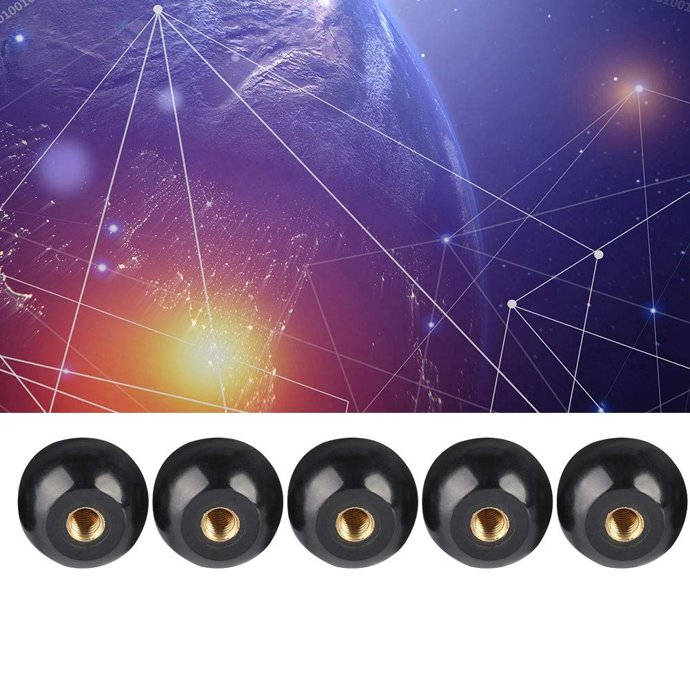 Manijas de perilla de bola 5 piezas Perilla de palanca de bola de baquelita negra Inserto de cobre M12 /× 40 Reemplazo de herramienta de m/áquina Perilla de manija de m/áquina Manija de bola de juego