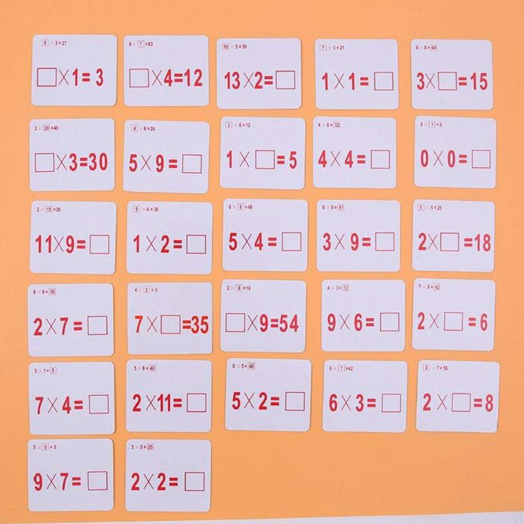 Numero di Apprendimento Educativo Carta di Matematica con Penna Cancellabile Moltiplicazione Fenteer 72x Flash Card