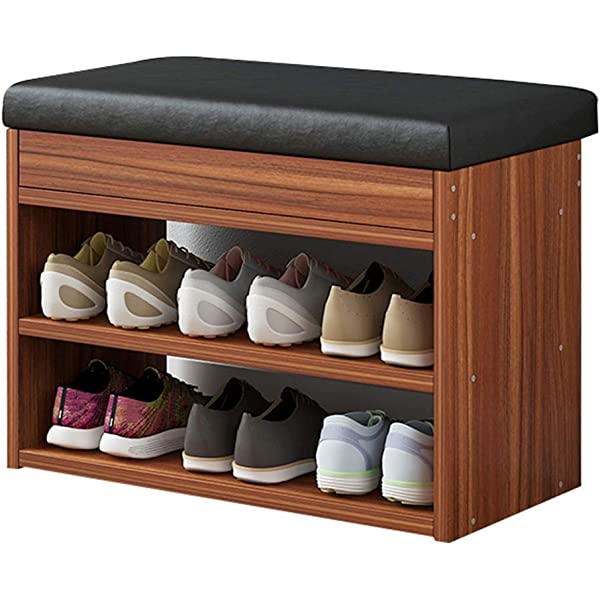 Home Cushion Shoe Cabinet Double Layer Solid Wood Shoe Cabinet Hallway Closet Bench Furniture Seat Shoe Changer Stool Multifunctional Storage Rack Flip PU Leather//Cotton Linen Retro Comf