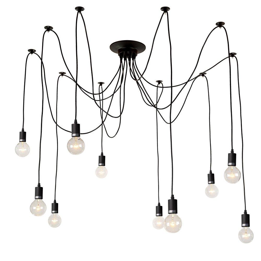 LNC A0167701 Adjustable Modern 10 Pendant Lights Chandeliers, Black