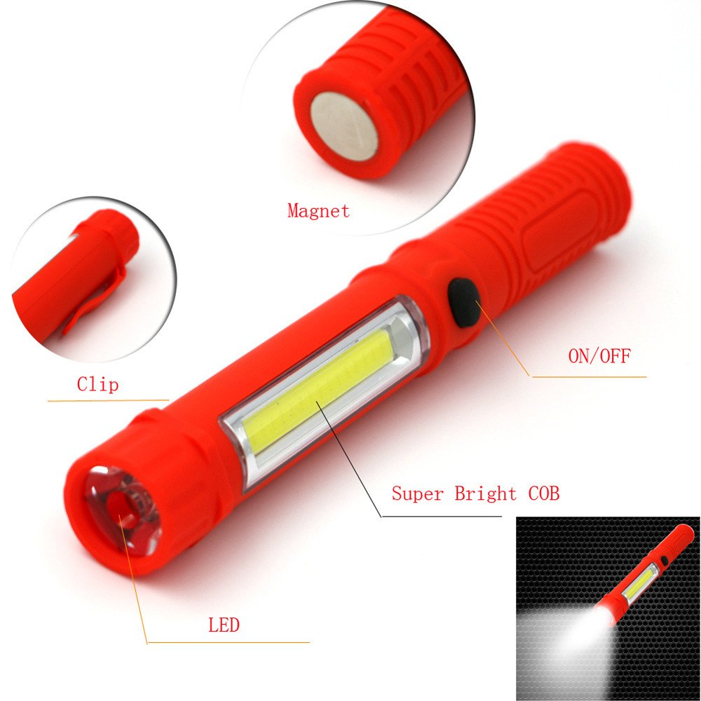 LED Flashlight COB LED Pocket Light With Magnetic Clip Great for Hunting and Other Outdoor Activities (Battery not Included) (red)