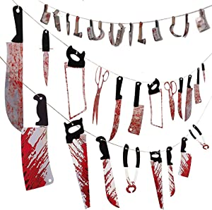 CYYLTD 3 Sets Halloween Scary Bloody Garland Banner with 34 Pieces, Halloween Zombie Vampire Party Scene Decorations Supplies