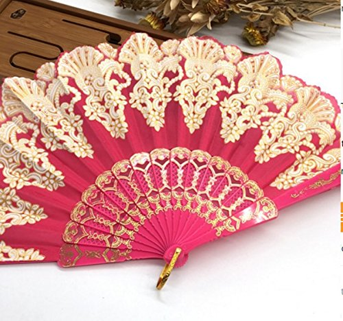 Rose Red Fashion Vintage Spanish Plastic Embroidered Hand Folding Women Girl Dancing Fan Home Decor Tools
