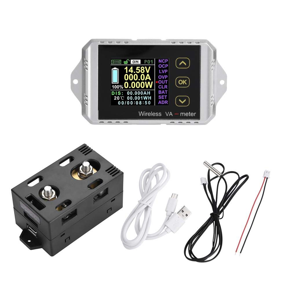 Voltage Ammeter Power Meter, Wireless Color LCD Screen DC Voltage Ammeter Power Meter Watt Tester(#3)